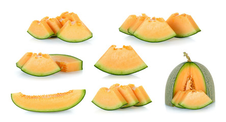 Sliced cantaloupe melon isolated on the white background