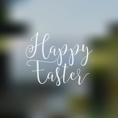 Easter sign - Happy Easter. Easter wish overlay, lettering label design. Retro holiday badge. Hand lettered easter emblem. Isolated. Religious holiday sign. Easter photo overlays design for web, print
