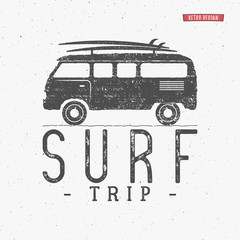 Surf trip concept Vector Summer surfing retro badge. Beach surfer emblem , rv outdoors banner, vintage background. Boards, retro car. Surf icon design. For summer surf Logotype, label, party brochure