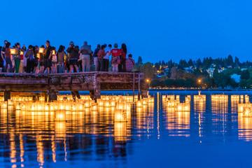 lantern floating on green lake park for memorial of Hiroshima,Seattle,Washington,usa.