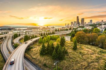Seattle skylines and Interstate freeways converge with Elliott Bay,Seattle,Washington,usa. Wall mural