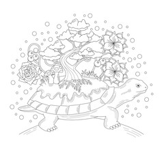 Tortoise coloring book illustration