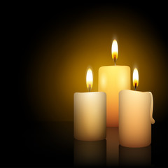 Three burning advent candles - vector illustration