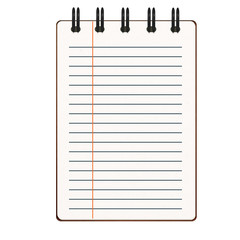 blank notepad with lined on white background