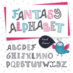 Fantasy hand drawn letters set isolated on white background.. Handmade artistic doodle alphabet. Original zentangle letters collection.