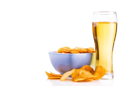 Glass of beer and chips