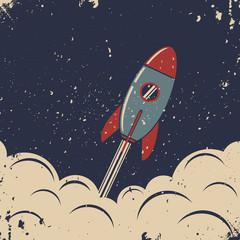 Retro rocket launch. Retro poster template.