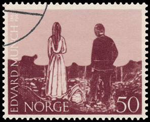 Stamp printed in Norway shows Portrait of Edvard Munch