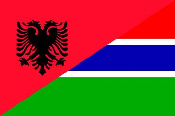 Waving flag of Gambia and Albania