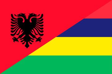 Waving flag of Mauritius and Albania