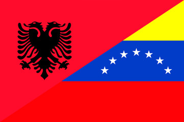 Waving flag of Venezuela and Albania