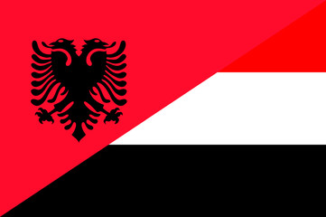 Waving flag of Yemen and Albania