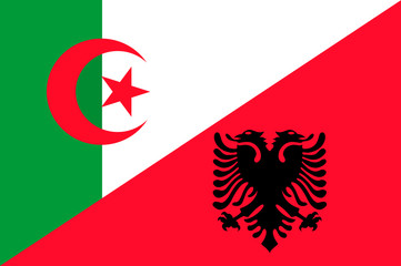 Waving flag of Albania and Algeria