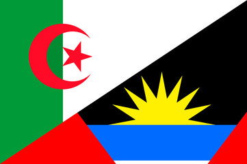 Waving flag of Antigua and Barbuda and Algeria