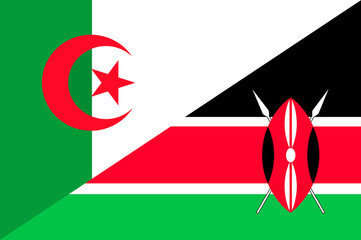 Waving flag of Kenya and Algeria