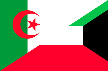 Waving flag of Kuwait and Algeria