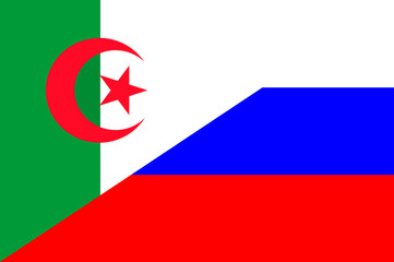 Waving flag of Russia and Algeria