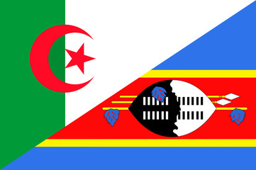Waving flag of Swaziland and Algeria