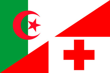 Waving flag of Tonga and Algeria