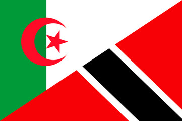 Waving flag of Trinidad and Tobago and Algeria