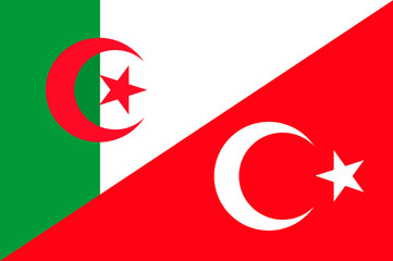 Waving flag of Turkey and Algeria