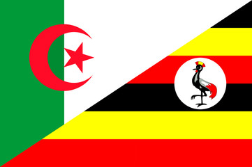 Waving flag of Uganda and Algeria