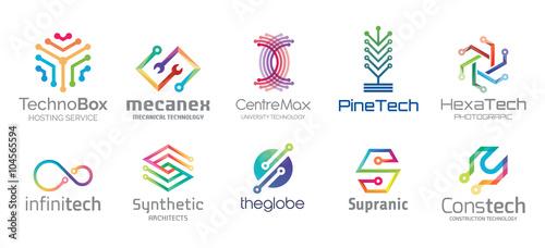 """Technology Logo Design Set V.1"" fichier vectoriel libre ... Internet Service Company Logos And Names"