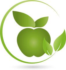 Apfel und Blätter, Logo, Essen, Vegan