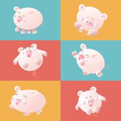 cute cartoon pig, vector illustration