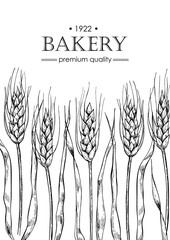 Vector vintage bread and bakery illustration. Hand drawn banner.