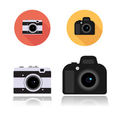 DSLR camera icon and Retro compact camera icon, round flat icons on white, vector illustration