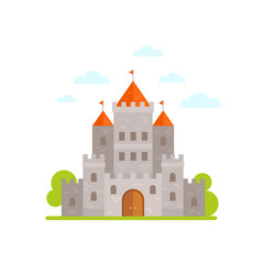 Flat medieval castle isolated