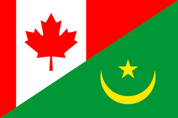 Waving flag of Mauritania and Canada