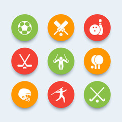 sport, games, competition round icons, sport symbols, vector illustration