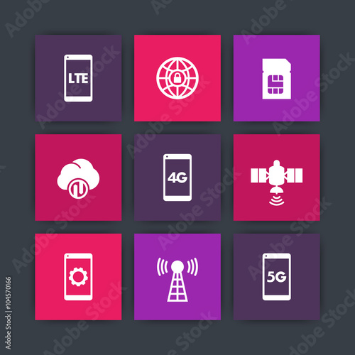 Wireless Technology Icons 4g Network Pictogram Lte Icon Mobile
