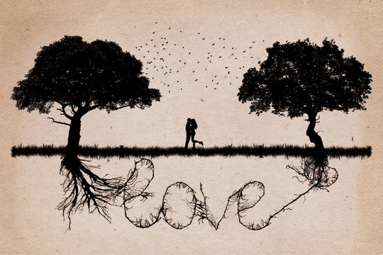 Two trees in front of each other growing in love relationship and romance concept with underground roots merge together in shape of love word. Relationship and togetherness