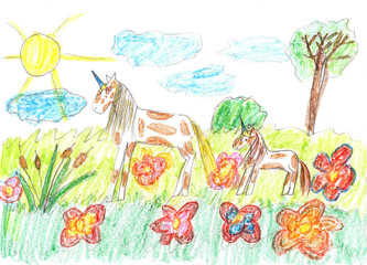 Child drawing of a fairy tale unicorns grazing on the meadow