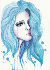 Crying girl with blue hair. Watercolor illustration on textured paper