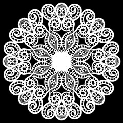 Lace round paper doily, lacy snowflake, greeting element package, vector illustrations