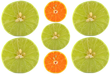Halves of lime and orange on white background