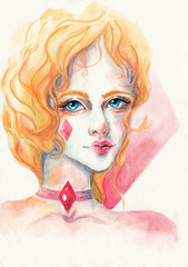 Queen of Diamonds. Watercolor illustration on textured paper