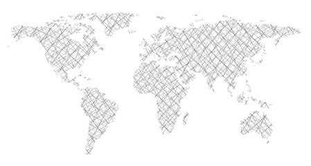 World map in form intersecting lines