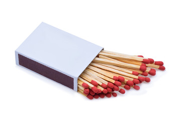 The matchbox and matches isolated on white background