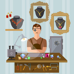 Jeweler at the workplace making jewelry