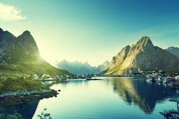 Tuinposter Scandinavië Reine Village, Lofoten Islands, Norway