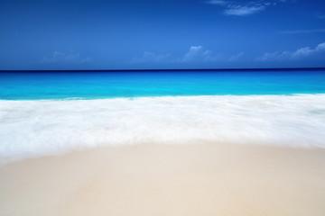 Wall Mural - seychelles beach in sunny day, long exposure blur