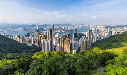 Hong Kong Skyline from Victoria Peak in Hong Kong, China.