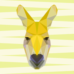 Yellow colored abstract geometric polygonal kangaroo background