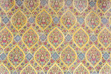 vintage colorful angel on  floral print floor tile
