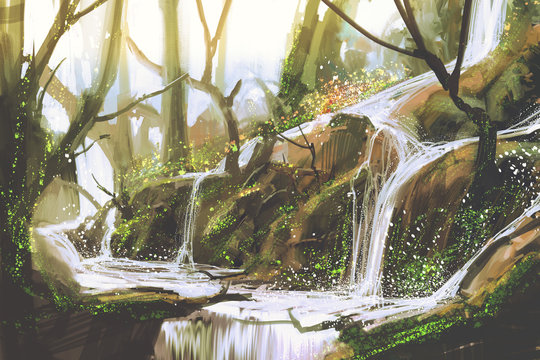 waterfall in forest,illustration painting